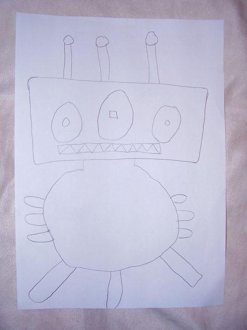 Monster sketch for crochet pattern.