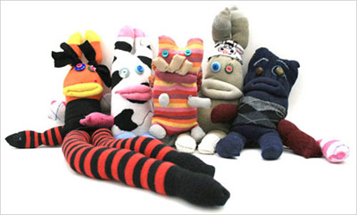 Sock monster group from sockmonsters.woolywarrior.co.uk