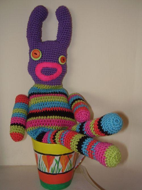 Crochet sock monster in mug