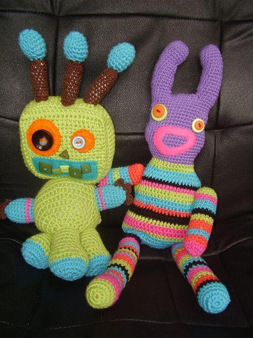 Crochet sock monster with green monster