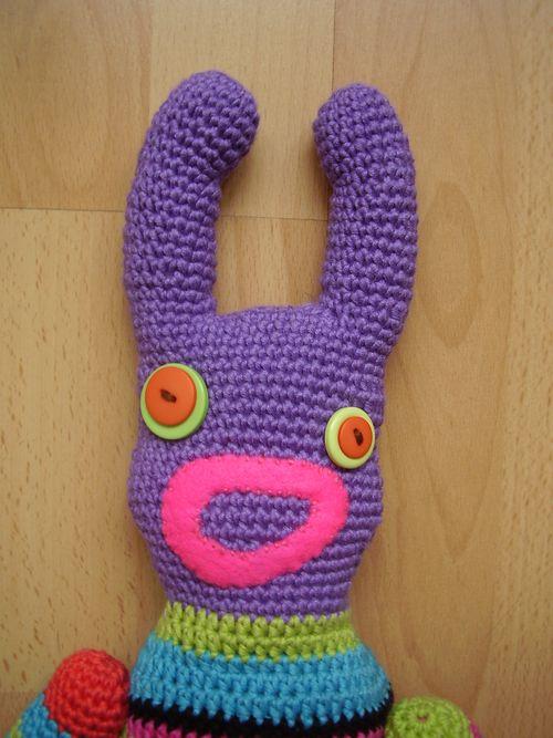 Crochet sock monsters face
