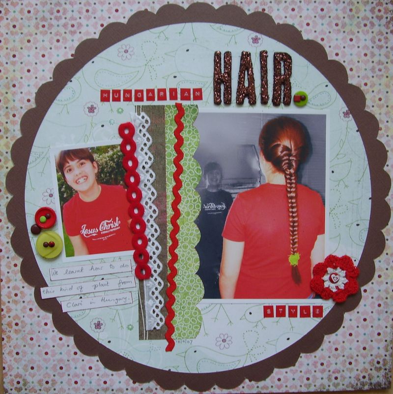 Hungarian HAIR style scrapbook Layout