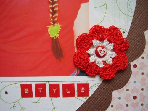 Crochet flower scrapbook layout