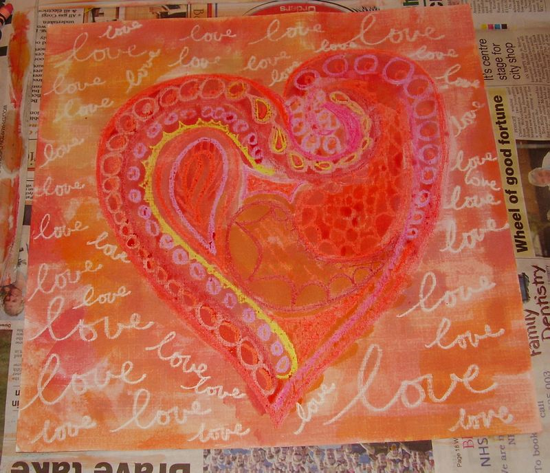 Wax resist heart with watercolour paint