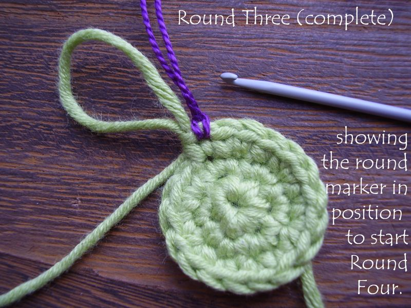 Pic 10   round 3 complete showing stitch marker ready for round 4