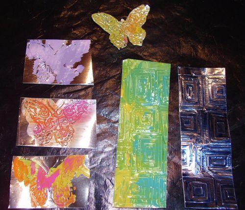 Acyrilic paint and an alcolhol ink on tinfoil tape