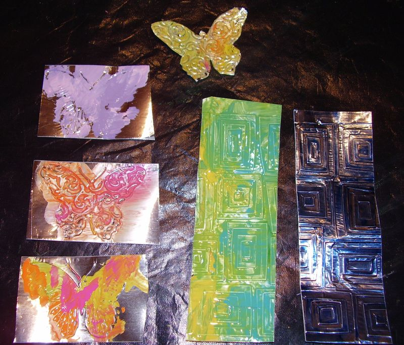Acyrilic paint and an alcolhol ink on tinfoil tape