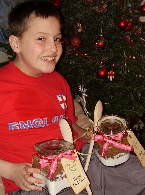 Cookie mix jars by the tree