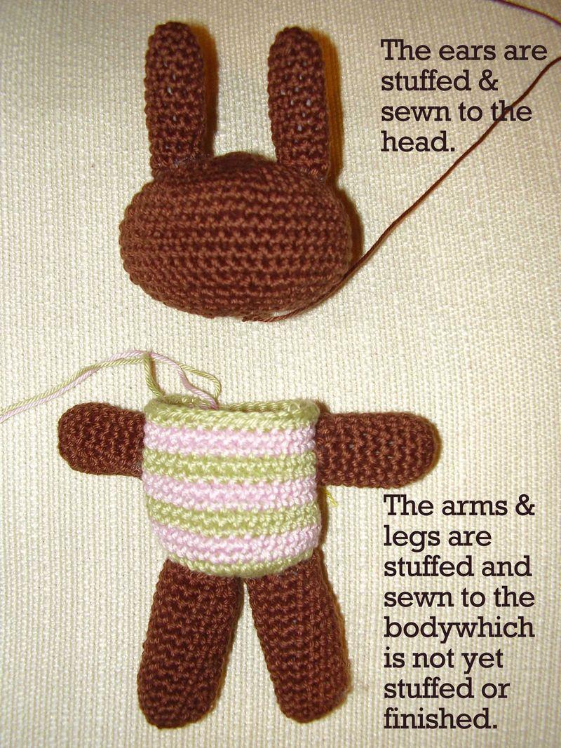 Amigurumi bunny legs arms ears sewn on web