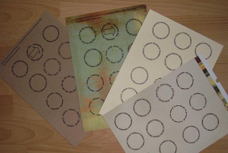 Printed sheets of circle wordart