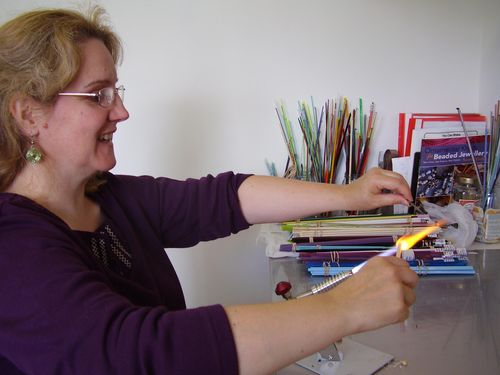 Bead maker at work