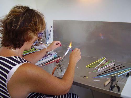 Purple glass bead maker