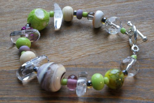 Beads made into bracelet by Caroline of Craven and White web