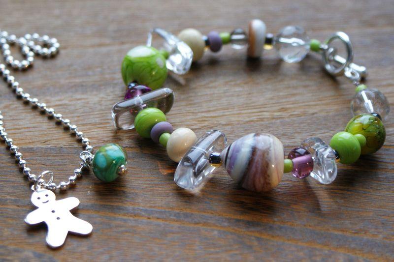 Gingerbread man necklace and my bracelet Caroline workshop Craven & White web