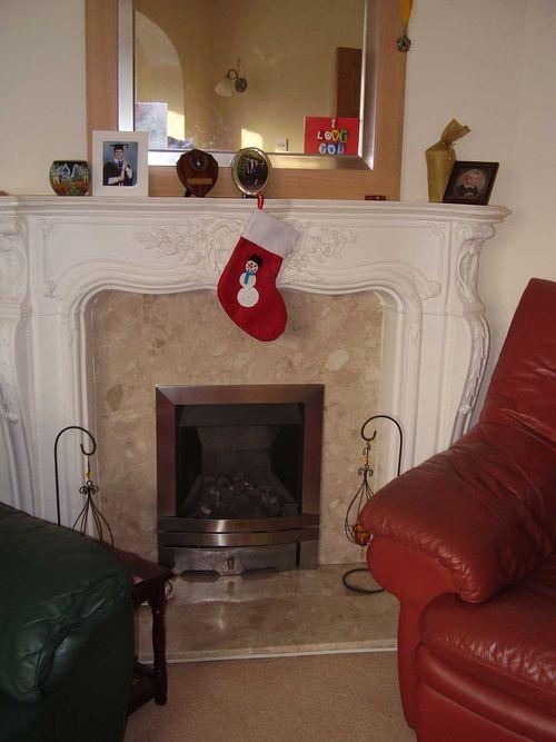 Stocking hanging with crochet snowman motif web