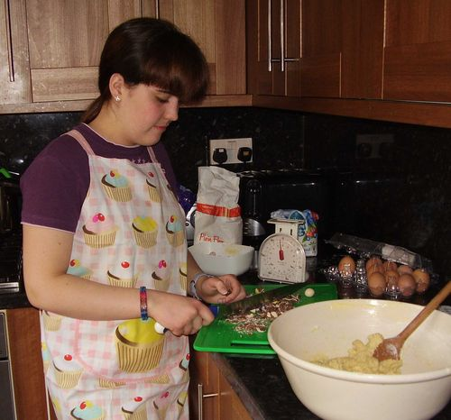 Chopping mini eggs for cookies web