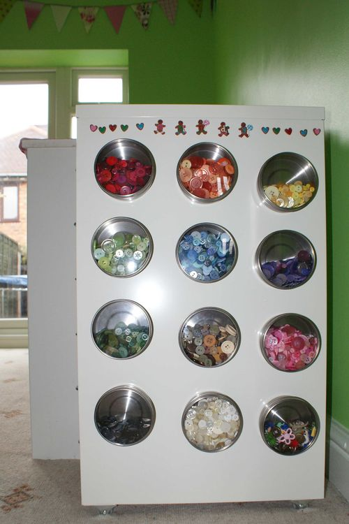 Craft room magnetic IKEA button storage web