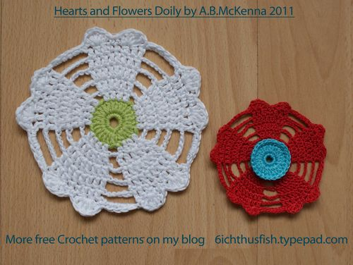 Hearts and flowers doily free crochet pattern web