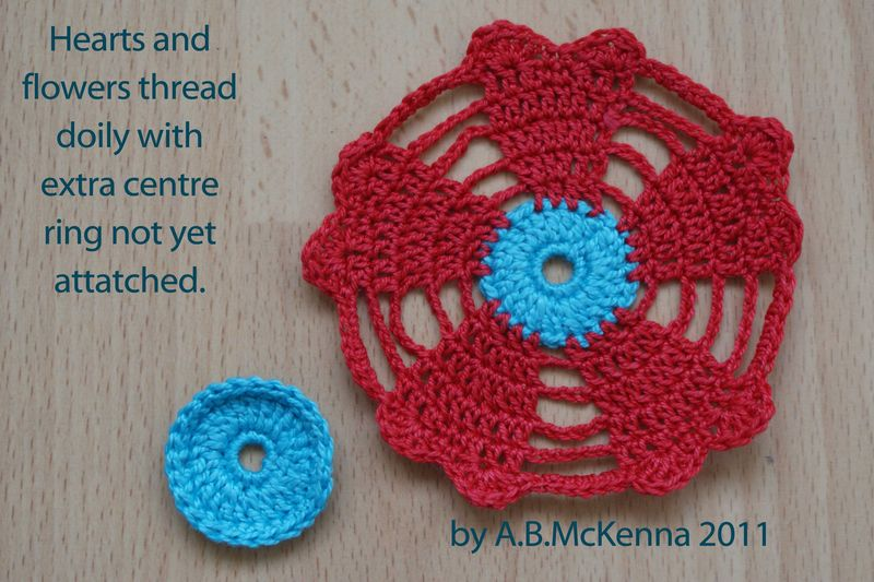 Hearts and flowers thread doily unattatched centre ring web