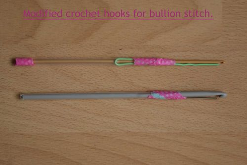 Modified hooks for bullion stitch web