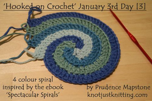 4 colour spiral Jan 3rd Hooked on Crochet Day 3 web