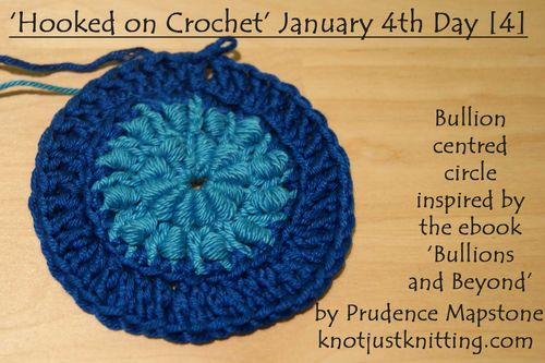 Bullion centred blue circle Jan 4th Hooked on Crochet web