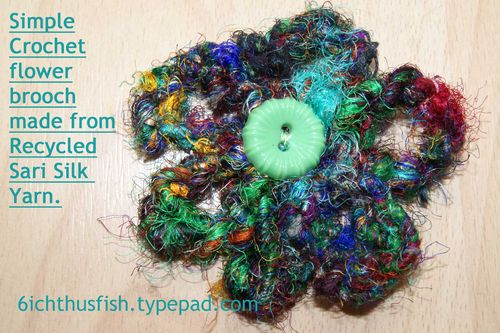 Recycled sari silk yarn crochet  flower web