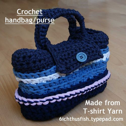 Bag or purse crocheted from T-shirt yarn title web