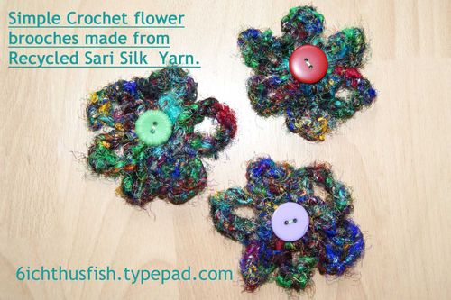 Recycled sari silk yarn crochet  flowers web